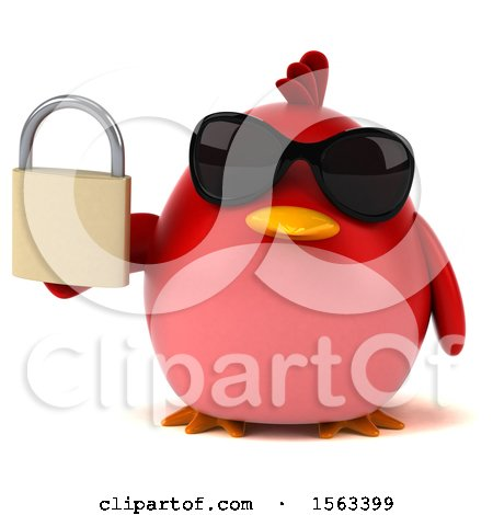 Clipart of a 3d Red Bird Holding a Padlock, on a White Background - Royalty Free Illustration by Julos