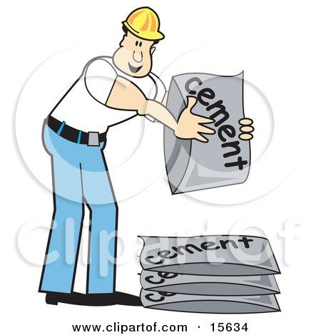 Male Construction Worker In A Yellow Hardhat, White T Shirt And Blue Jeans, Stacking Bags Of Cement Mix Clipart Illustration by Andy Nortnik