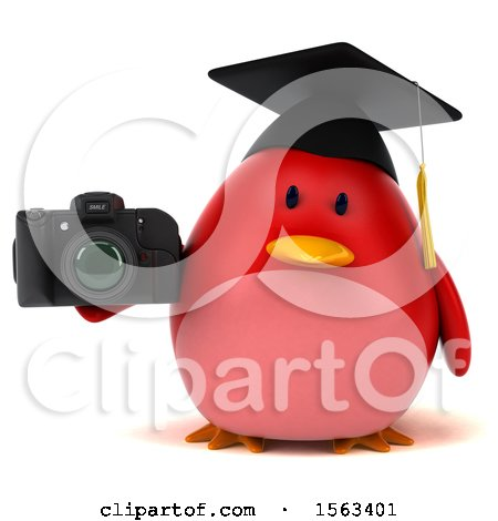 Clipart of a 3d Red Bird Graduate Holding a Camera, on a White Background - Royalty Free Illustration by Julos