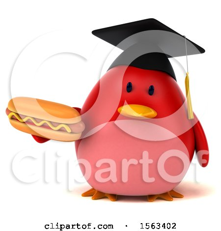 Clipart of a 3d Red Bird Graduate Holding a Hot Dog, on a White Background - Royalty Free Illustration by Julos