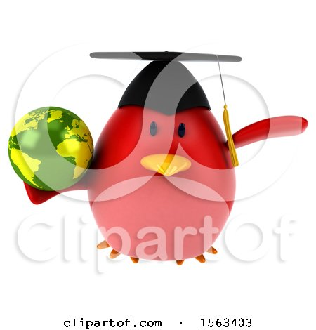 Clipart of a 3d Red Bird Graduate Holding a Globe, on a White Background - Royalty Free Illustration by Julos