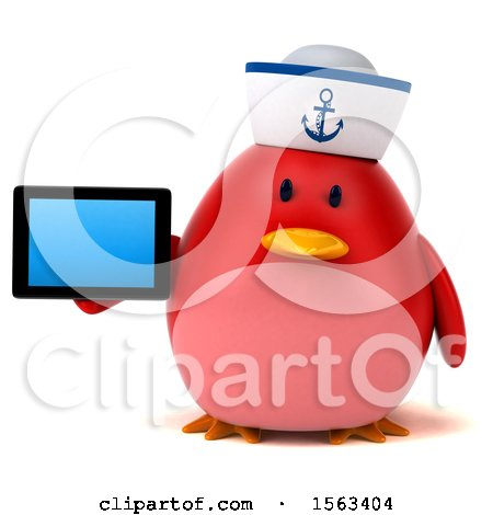 Clipart of a 3d Red Bird Sailor Holding a Tablet, on a White Background - Royalty Free Illustration by Julos