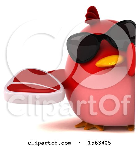Clipart of a 3d Red Bird Holding a Steak, on a White Background - Royalty Free Illustration by Julos