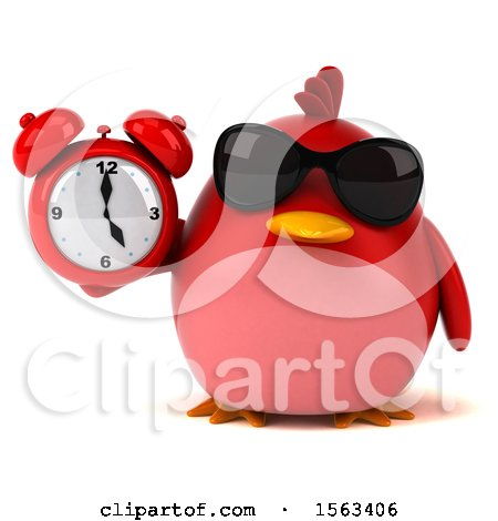 Clipart of a 3d Red Bird Holding an Alarm Clock, on a White Background - Royalty Free Illustration by Julos