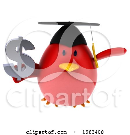 Clipart of a 3d Red Bird Graduate Holding a Dollar Sign, on a White Background - Royalty Free Illustration by Julos