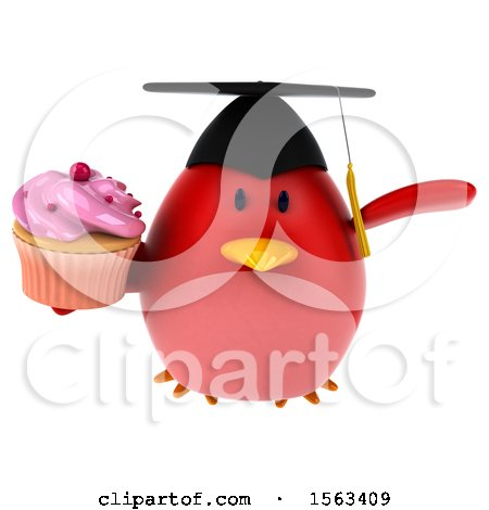 Clipart of a 3d Red Bird Graduate Holding a Cupcake, on a White Background - Royalty Free Illustration by Julos