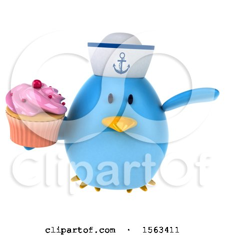 Clipart of a 3d Blue Bird Sailor Holding a Cupcake, on a White Background - Royalty Free Illustration by Julos