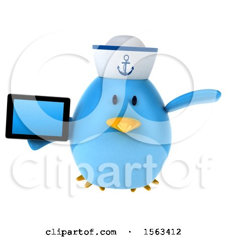 Clipart of a 3d Blue Bird Sailor Holding a Tablet, on a White Background - Royalty Free Illustration by Julos