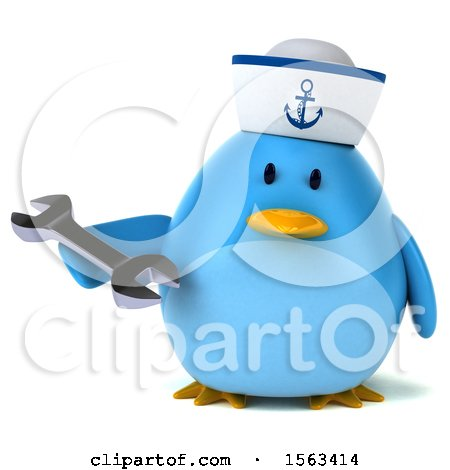 Clipart of a 3d Blue Bird Sailor Holding a Wrench, on a White Background - Royalty Free Illustration by Julos