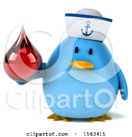 Clipart of a 3d Blue Bird Sailor Holding a Blood Drop, on a White Background - Royalty Free Illustration by Julos