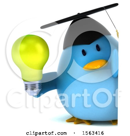 Clipart of a 3d Blue Bird Graduate Holding a Light Bulb, on a White Background - Royalty Free Illustration by Julos