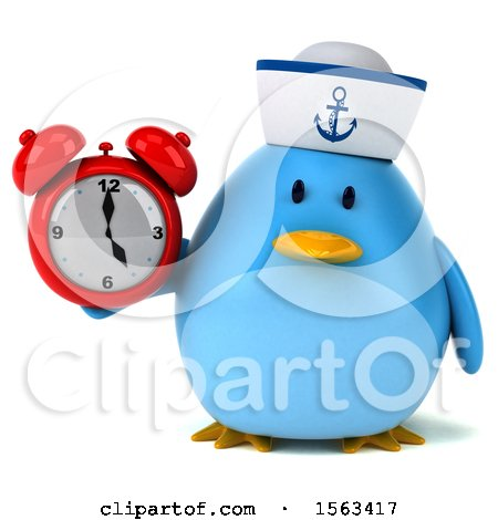 Clipart of a 3d Blue Bird Sailor Holding an Alarm Clock, on a White Background - Royalty Free Illustration by Julos