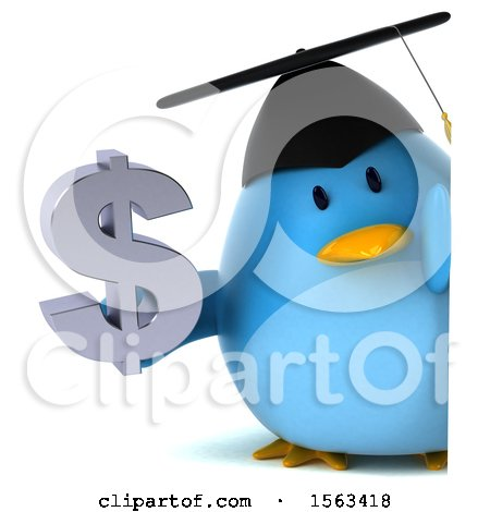 Clipart of a 3d Blue Bird Graduate Holding a Dollar Sign, on a White Background - Royalty Free Illustration by Julos