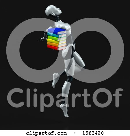 Clipart of a 3d Feminine Robot Holding Books, on a Black Background - Royalty Free Illustration by Julos