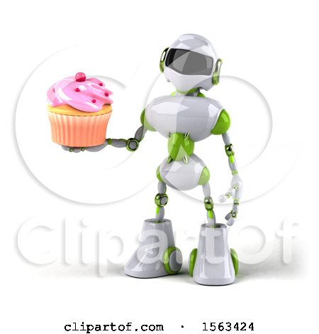 Clipart of a 3d Green and White Robot Holding a Cupcake, on a White Background - Royalty Free Illustration by Julos