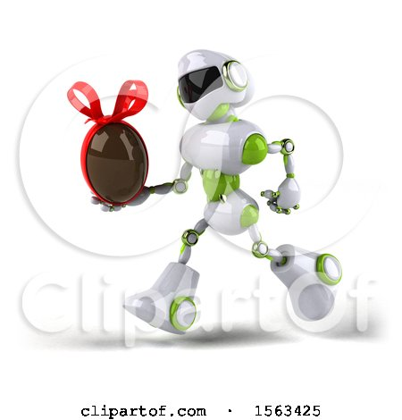 Clipart of a 3d Green and White Robot Holding a Chocolate Egg, on a White Background - Royalty Free Illustration by Julos