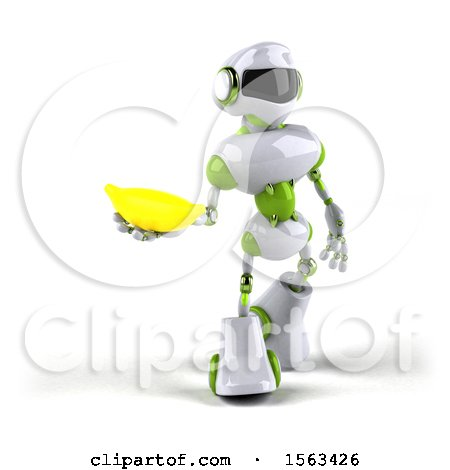 Clipart of a 3d Green and White Robot Holding a Banana, on a White Background - Royalty Free Illustration by Julos