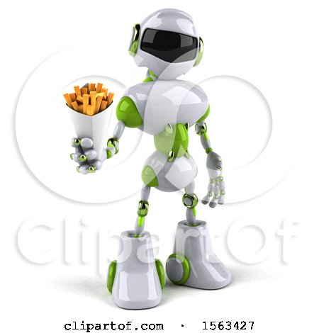 Clipart of a 3d Green and White Robot Holding Fries, on a White Background - Royalty Free Illustration by Julos