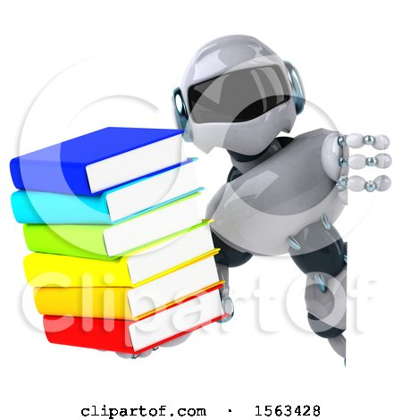 Clipart of a 3d Blue and White Robot Holding Books, on a White Background - Royalty Free Illustration by Julos