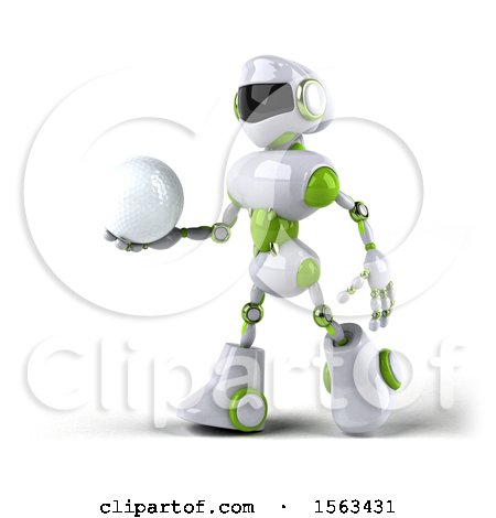 Clipart of a 3d Green and White Robot Holding a Golf Ball, on a White Background - Royalty Free Illustration by Julos