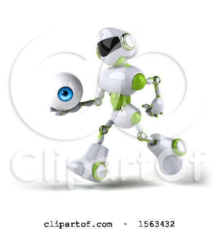 Clipart of a 3d Green and White Robot Holding an Eyeball, on a White Background - Royalty Free Illustration by Julos