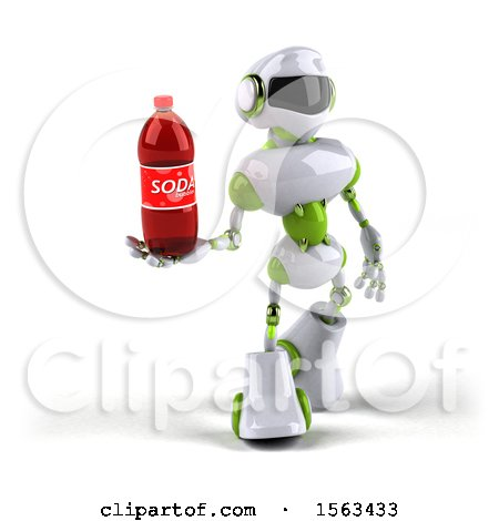 Clipart of a 3d Green and White Robot Holding a Soda, on a White Background - Royalty Free Illustration by Julos