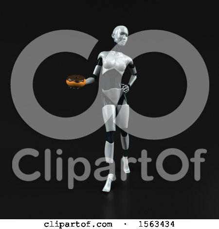 Clipart of a 3d Feminine Robot Holding a Donut, on a Black Background - Royalty Free Illustration by Julos