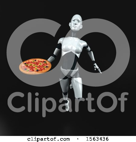 Clipart of a 3d Feminine Robot Holding a Pizza, on a Black Background - Royalty Free Illustration by Julos