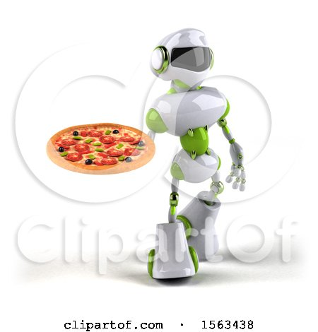 Clipart of a 3d Green and White Robot Holding a Pizza, on a White Background - Royalty Free Illustration by Julos