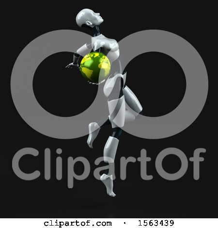 Clipart of a 3d Feminine Robot Holding a Globe, on a Black Background - Royalty Free Illustration by Julos