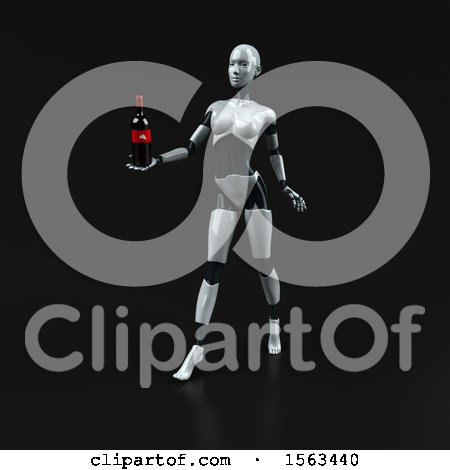 Clipart of a 3d Feminine Robot Holding Wine, on a Black Background - Royalty Free Illustration by Julos
