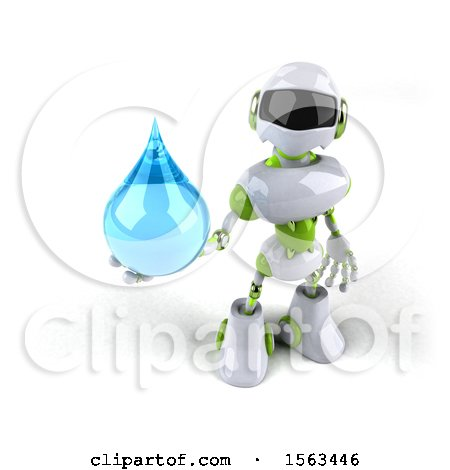 Clipart of a 3d Green and White Robot Holding a Water Drop, on a White Background - Royalty Free Illustration by Julos