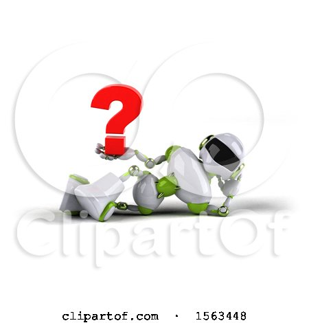 Clipart of a 3d Green and White Robot Holding a Question Mark, on a White Background - Royalty Free Illustration by Julos