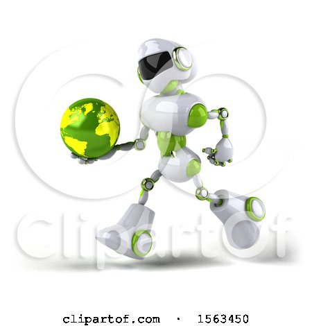 Clipart of a 3d Green and White Robot Holding a Globe, on a White Background - Royalty Free Illustration by Julos