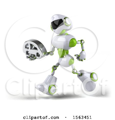 Clipart of a 3d Green and White Robot Holding a Car, on a White Background - Royalty Free Illustration by Julos