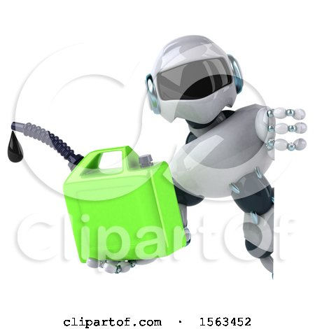 Clipart of a 3d Blue and White Robot Holding a Gas Can, on a White Background - Royalty Free Illustration by Julos