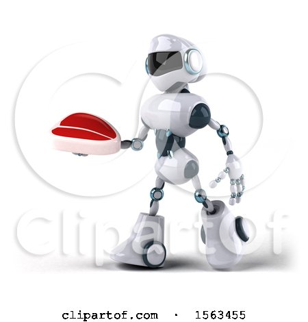 Clipart of a 3d Blue and White Robot Holding a Steak, on a White Background - Royalty Free Illustration by Julos
