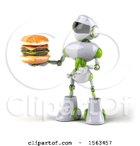 Clipart of a 3d Green and White Robot Holding a Burger, on a White Background - Royalty Free Illustration by Julos