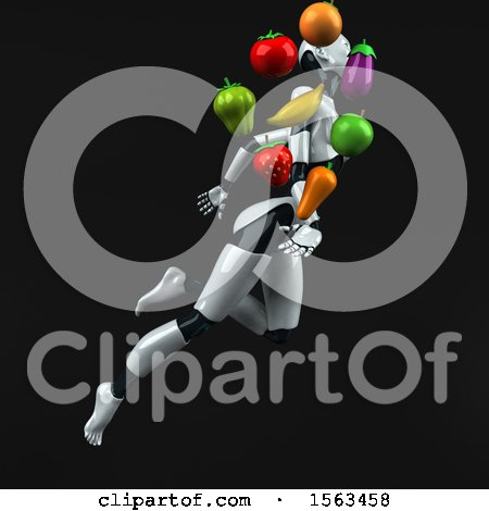 Clipart of a 3d Feminine Robot Holding Produce, on a Black Background - Royalty Free Illustration by Julos