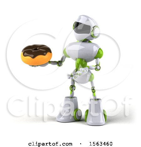 Clipart of a 3d Green and White Robot Holding a Donut, on a White Background - Royalty Free Illustration by Julos