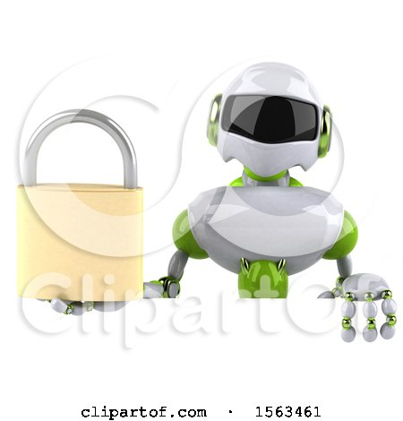 Clipart of a 3d Green and White Robot Holding a Padlock, on a White Background - Royalty Free Illustration by Julos