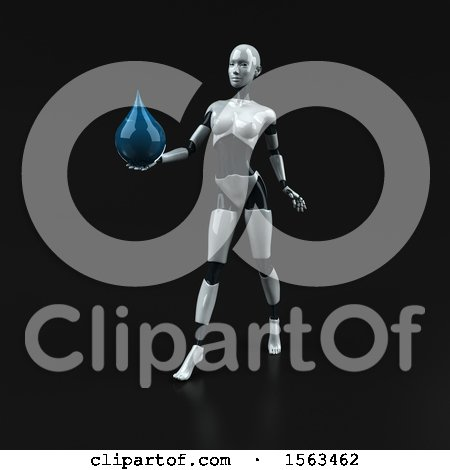 Clipart of a 3d Feminine Robot Holding a Water Drop, on a Black Background - Royalty Free Illustration by Julos