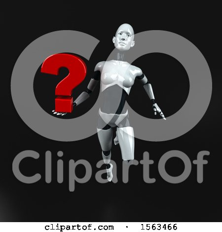 Clipart of a 3d Feminine Robot Holding a Question Mark, on a Black Background - Royalty Free Illustration by Julos