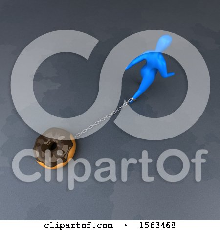 Clipart of a 3d Man Chained to a Donut - Royalty Free Illustration by Julos