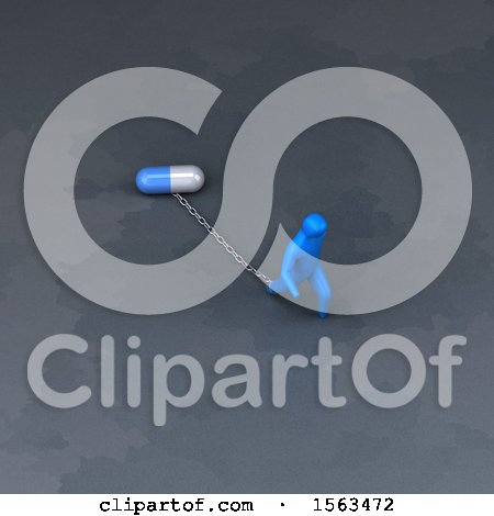 Clipart of a 3d Man Chained to a Pill - Royalty Free Illustration by Julos