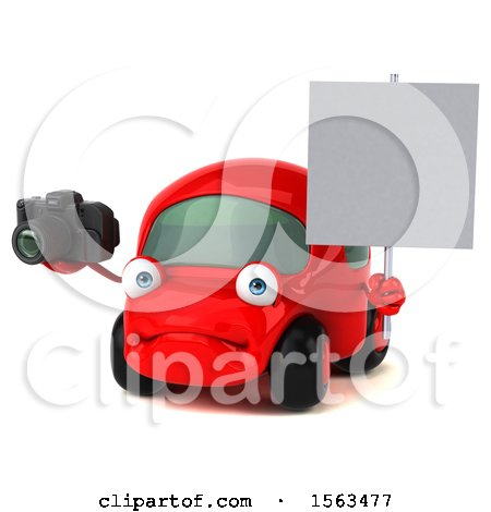 Clipart of a 3d Red Car Holding a Camera, on a White Background - Royalty Free Illustration by Julos