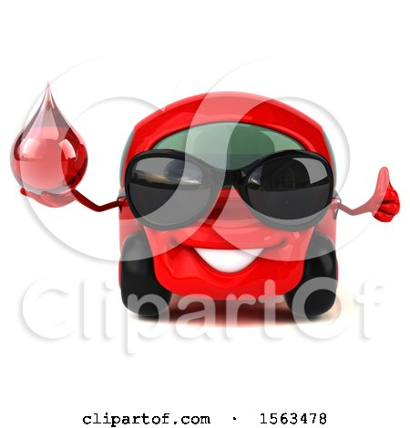 Clipart of a 3d Red Car Holding a Blood Drop, on a White Background - Royalty Free Illustration by Julos