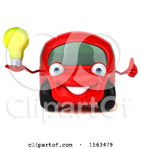 Clipart of a 3d Red Car Holding a Light Bulb, on a White Background - Royalty Free Illustration by Julos