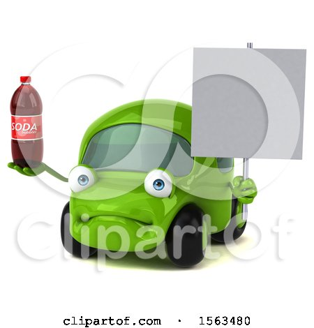 Clipart of a 3d Green Car Holding a Soda, on a White Background - Royalty Free Illustration by Julos