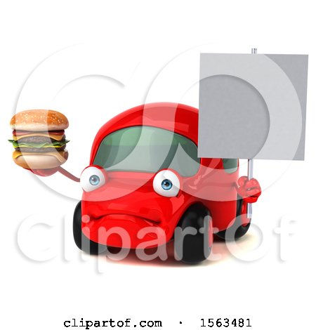 Clipart of a 3d Red Car Holding a Burger, on a White Background - Royalty Free Illustration by Julos